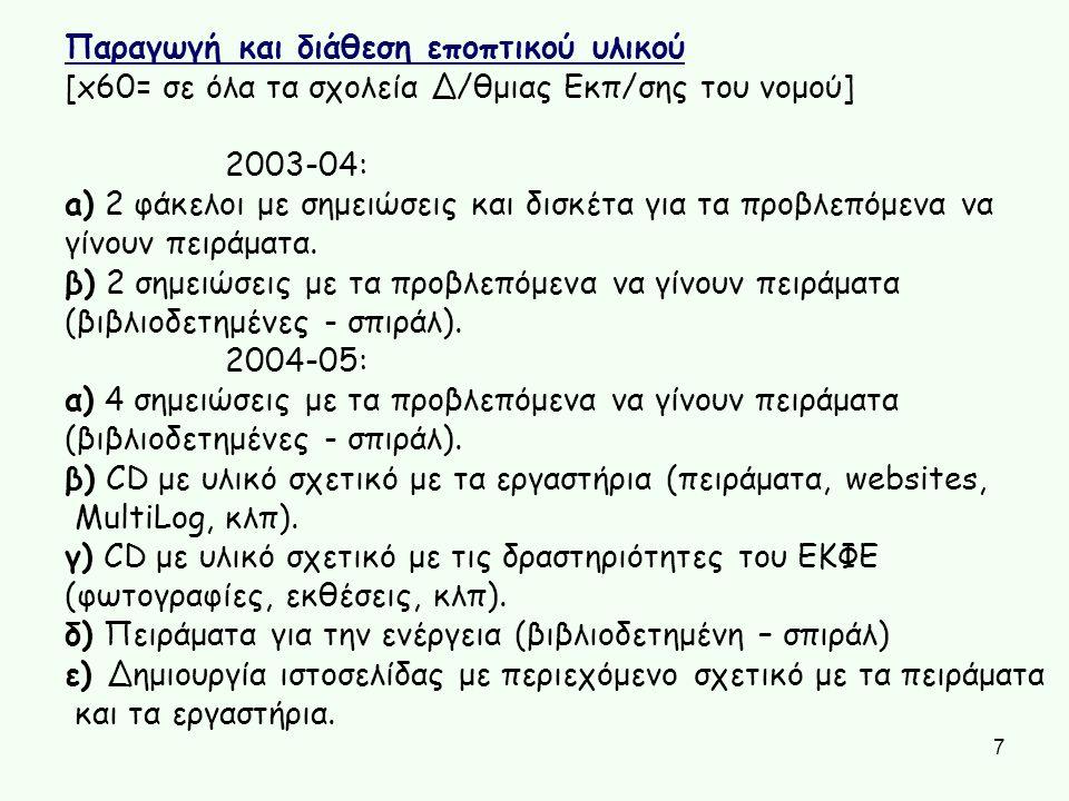 [x60= σε όλα τα σχολεία Δ/θμιας Εκπ/σης του νομού] 2003-04: